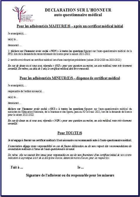 2021 22 db declaration sur l honneur autoquestionnaire medical
