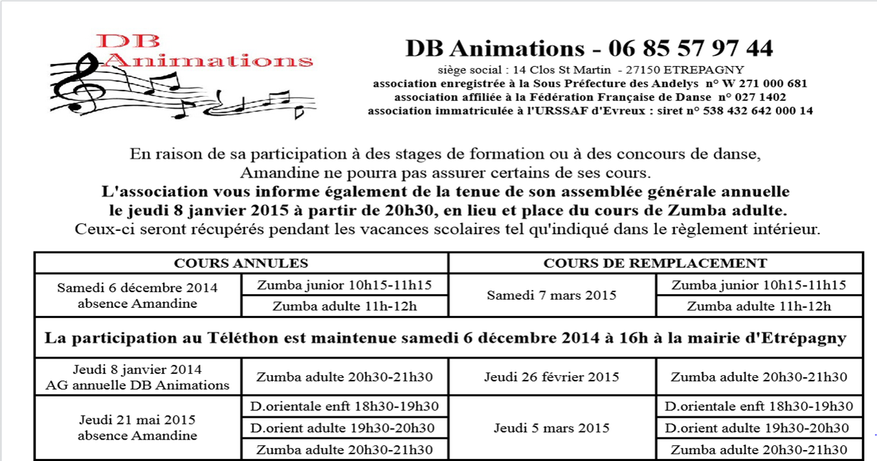 Absence cours db animations