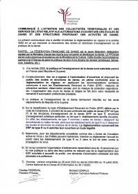 Ffd courrier collectivites territoriales ouverture cours danse aout 2020