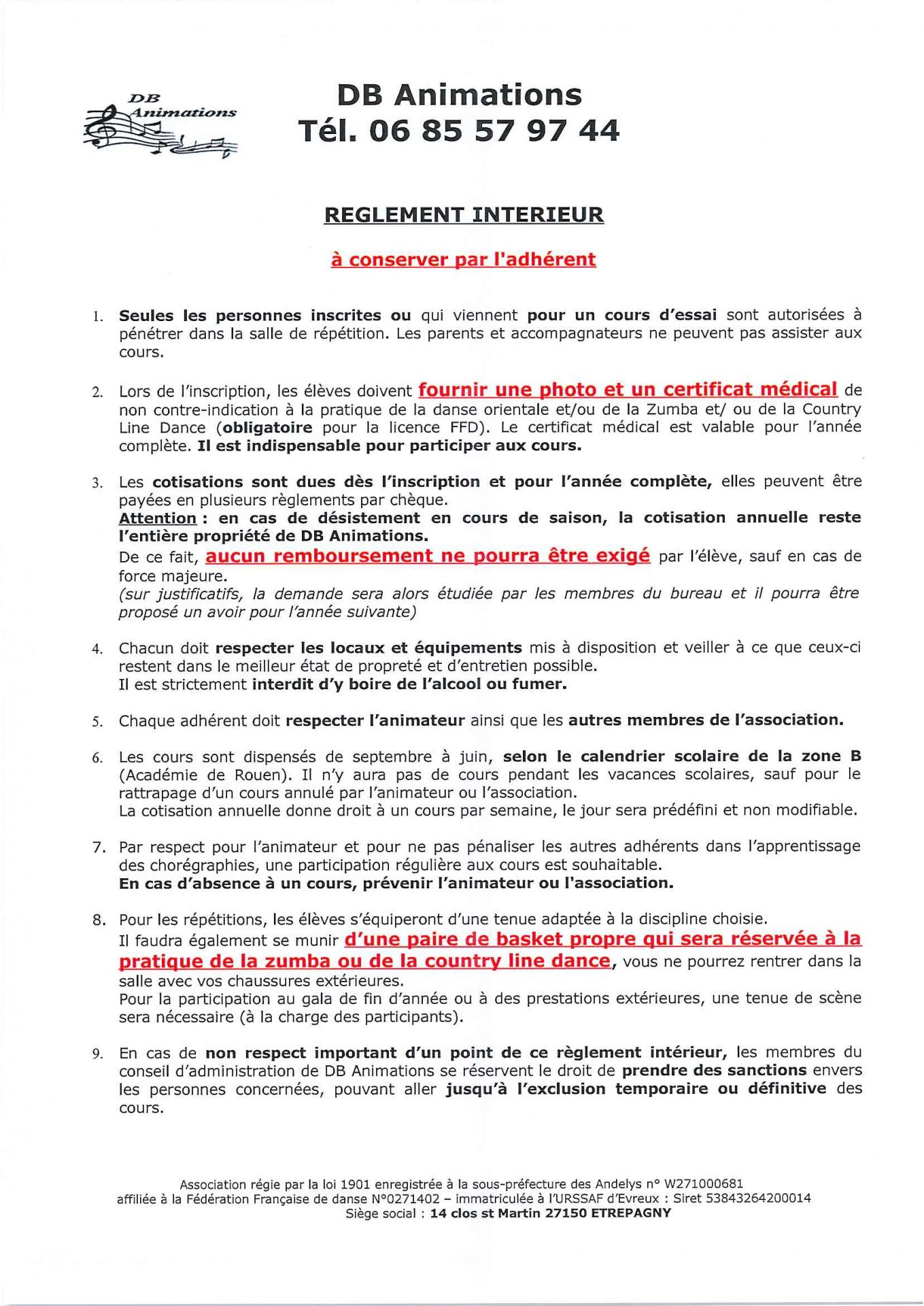 R glement int rieur de l 39 association for Reglement interieur ce